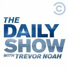 """The Daily Show with Trevor Noah logo which is bold blue letters that read """"The Daily Show with Trevor Noah."""" Each word is stacked on one another"""