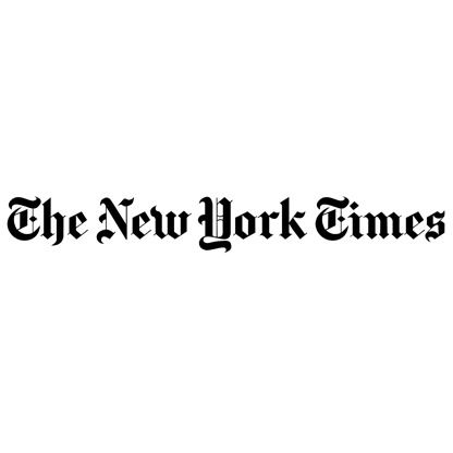 """""""The New York Times"""" logo which reads """"The New York Times"""" in black calligraphy on a white background"""