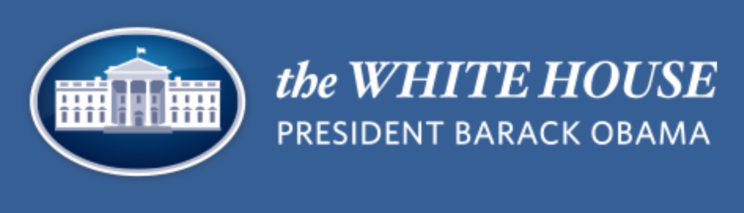 """The logo for the Obama White House. A graphic of the White House with white text that reads """"The White House President Barack Obama"""""""
