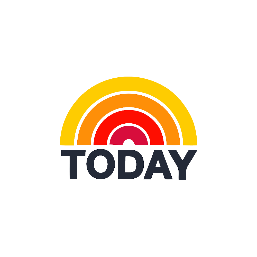 """The logo for the Today show which is a rainbow with yellow, orange and red with black text that reads """"Today"""""""