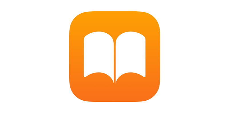 Logo for Apple Books that is a rounded square that is orange with an illustration of a white book
