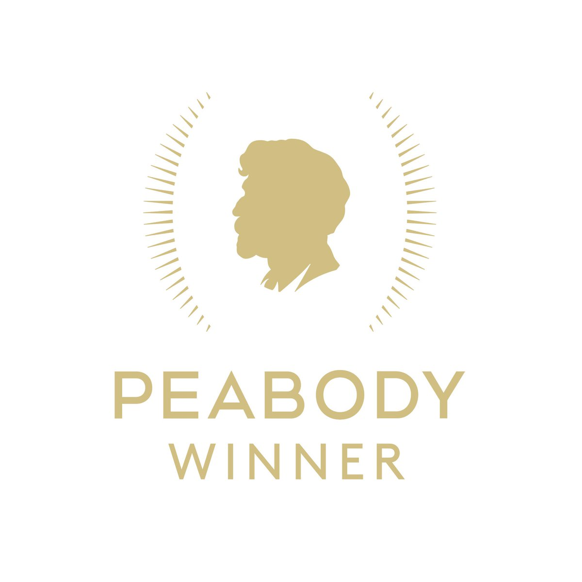 """The logo for the Peabody Awards. A gold colored graphic of a profile of a face with text that reads """"Peabody Winner"""" underneath"""